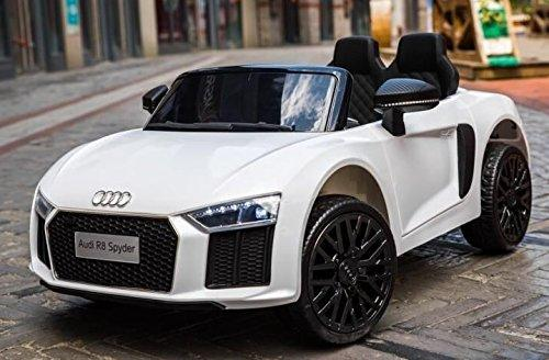Kids Licensed Audi R8 Spyder 12V Battery Electric Ride on Car - White-13328