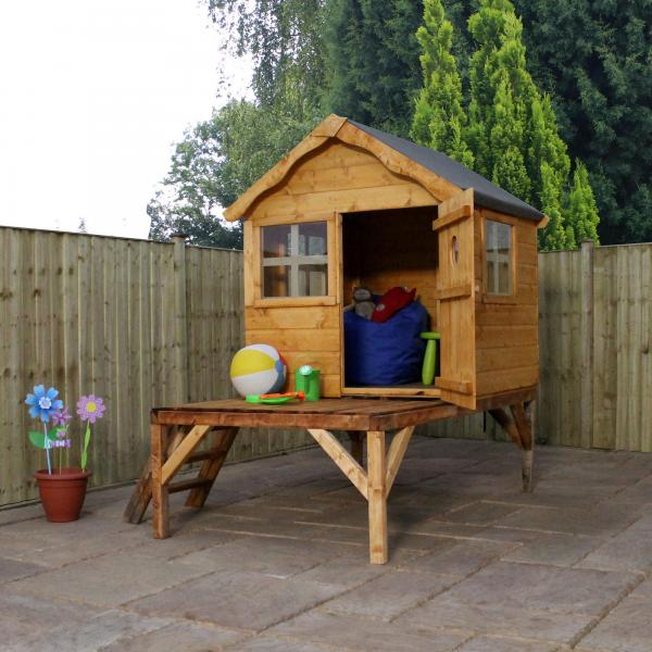 Mercia 4 x 4 Snug Wooden Playhouse / Wendy House with Tower-0