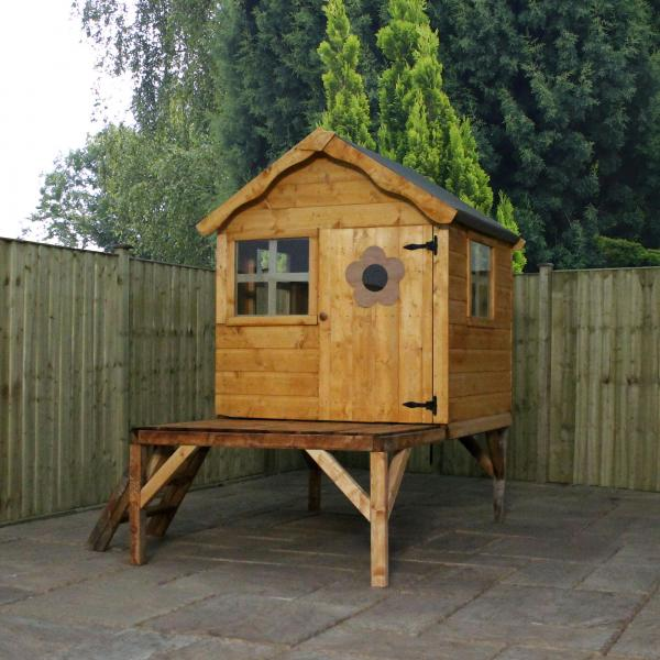 Mercia 4 x 4 Snug Wooden Playhouse / Wendy House with Tower-13399