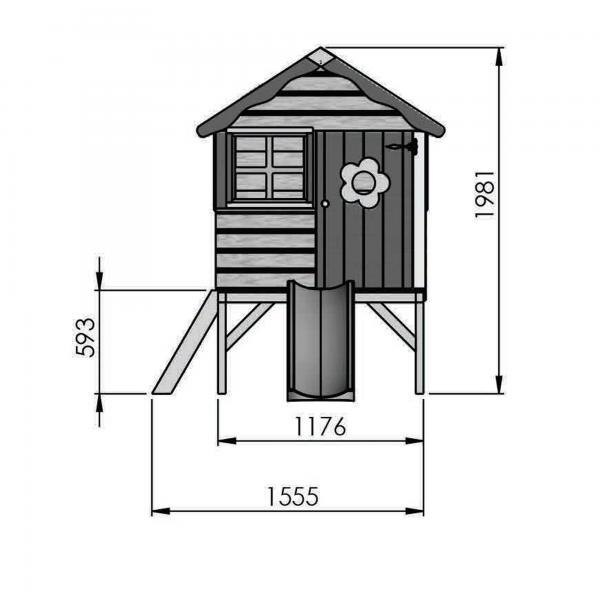 Mercia 4 x 4 Snug Wooden Playhouse / Wendy House with Tower-13401