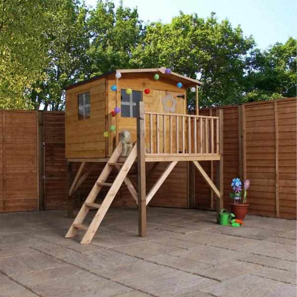 Mercia Rose Wooden Playhouse / Wendy House with Tower -0