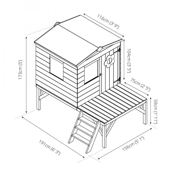 Mercia Bluebell Wooden Playhouse / Wendy House with tower-13424