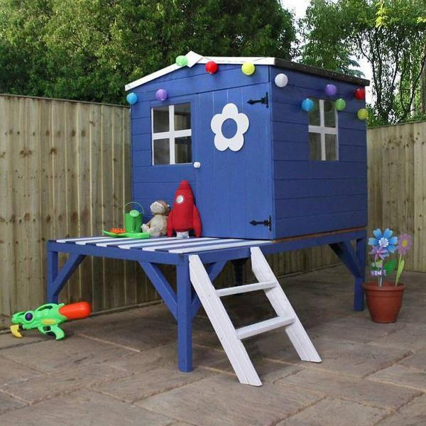 Mercia Bluebell Wooden Playhouse / Wendy House with tower-13422