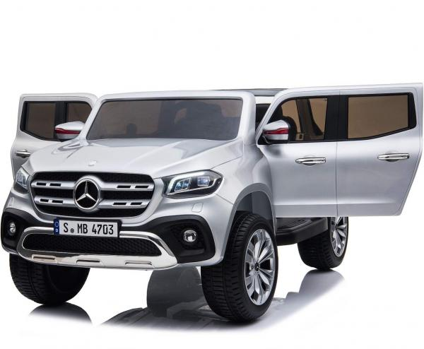 Kids Licensed Mercedes X Class Pickup - 24v 4WD Electric / Battery Ride on Car Jeep Silver-14687