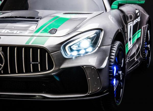 Licensed Mercedes-Benz AMG GT4 Sports Edition 12V Electric / Battery Ride On Car - Silver-15564