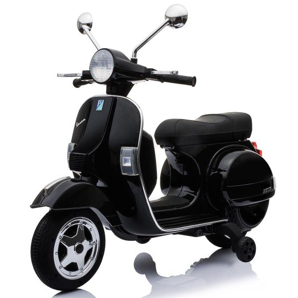 Kids Licensed Vespa Scooter PX150 Ride on Electric Battery Motor Bike 12v - Black-0
