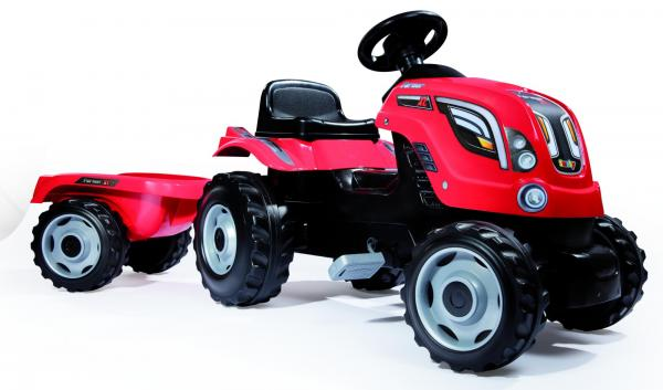 Smoby Childrens Red Farmer XL Pedal Ride On Tractor and Kids Trailer-15922