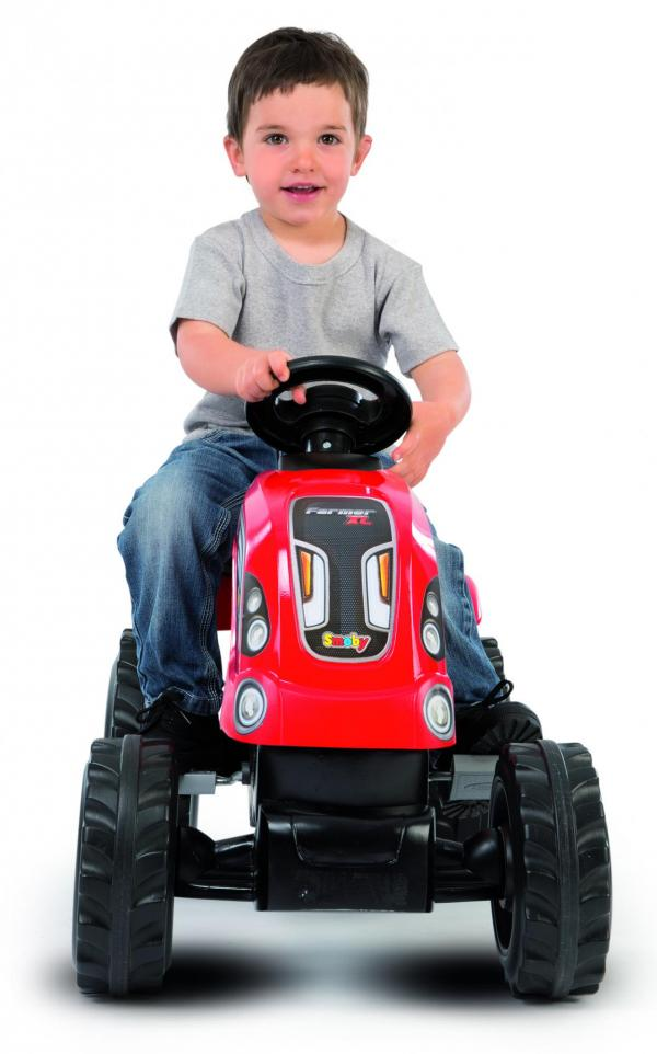 Smoby Childrens Red Farmer XL Pedal Ride On Tractor and Kids Trailer-15918