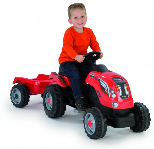 Smoby Childrens Red Farmer XL Pedal Ride On Tractor and Kids Trailer-0