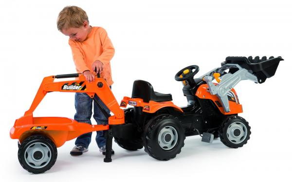 Smoby Builder Max Ride On Pedal Tractor Trailer-15932