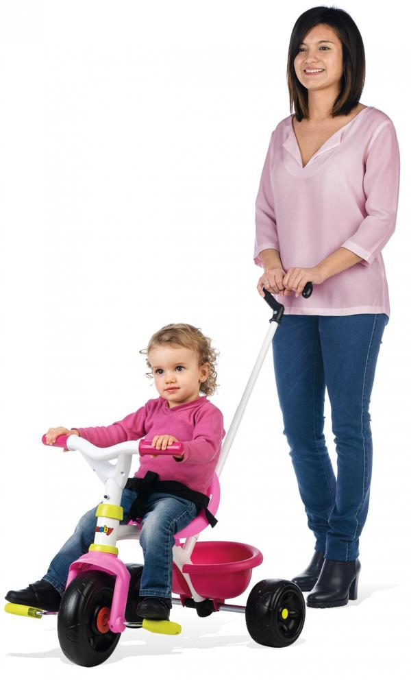 Smoby Be Fun Tricycle with Parent Handle - Pink-0