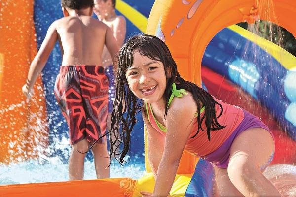 Bestway H2o Go Hurricane Tunnel Blast Inflatable Bouncy Castle 13.9ft Water Park -16103