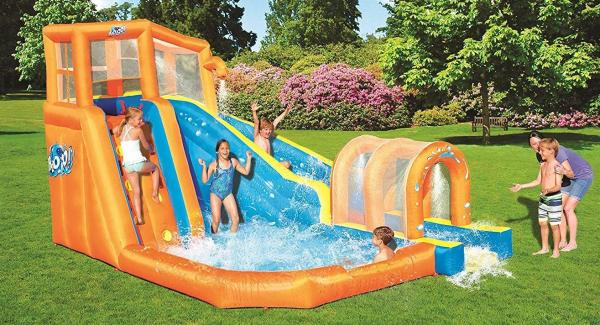 Bestway H2o Go Hurricane Tunnel Blast Inflatable Bouncy Castle 13.9ft Water Park -0