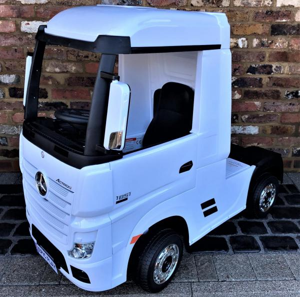 Licensed Mercedes Benz Actros 12v Ride On Lorry Artic Truck - White-0