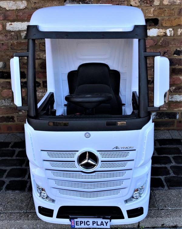 Licensed Mercedes Benz Actros 12v Ride On Lorry Artic Truck - White-17356