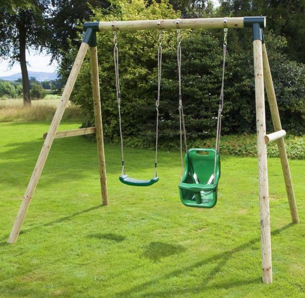 Rebo Green Wooden Round Pole Garden Swing Set - Luna Including Swing Anchors-17589