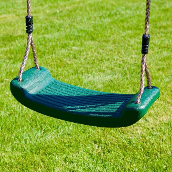Rebo Green Wooden Round Pole Garden Swing Set with Platform and Slide - Odyssey Including Swing Anchors-17472