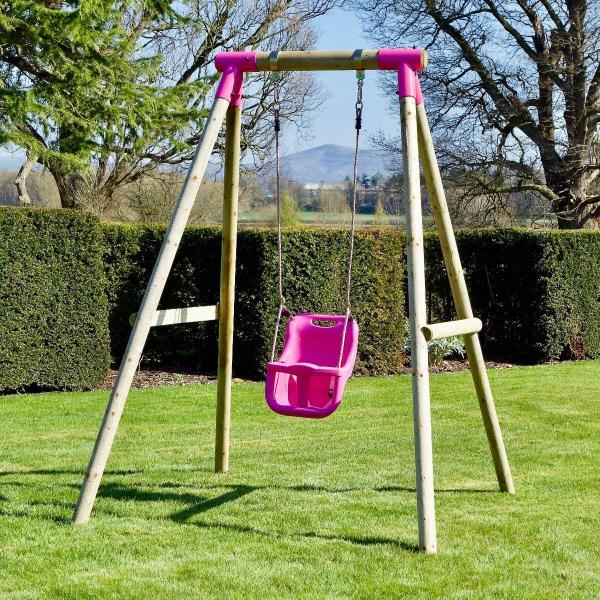 Rebo Pink Wooden Round Pole Garden Baby Swing Set - Pluto Including Swing Anchors-17526