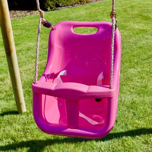 Rebo Pink Wooden Round Pole Garden Swing Set with Platform and Slide - Odyssey Including Swing Anchors -17494