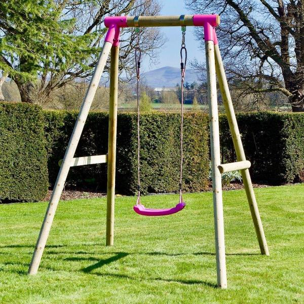 Rebo Pink Wooden Round Pole Garden Swing Set - Solar Including Swing Anchors-17432