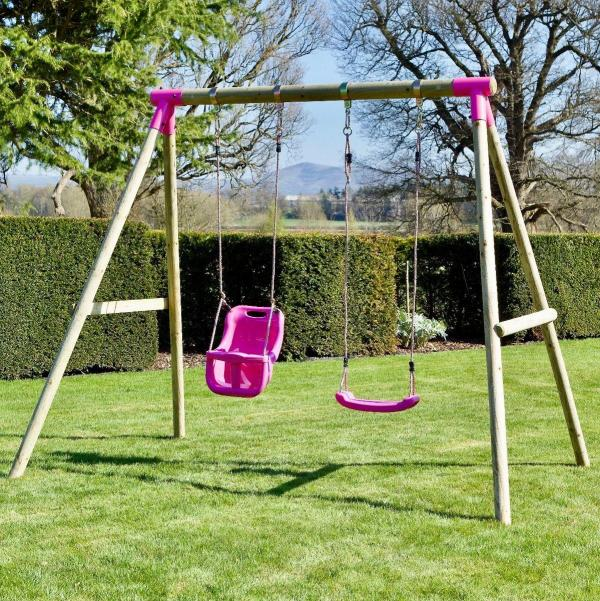 Rebo Pink Wooden Round Pole Garden Swing Set - Luna Including Swing Anchors-17612