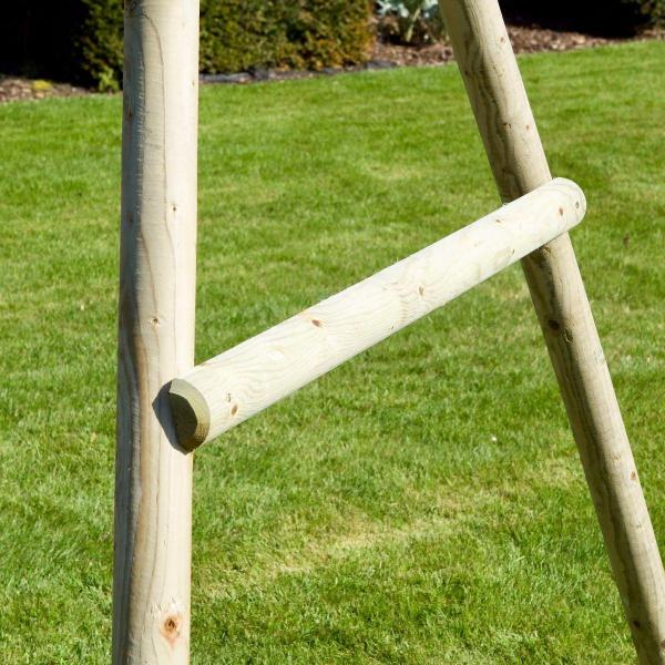 Rebo Green Wooden Round Pole Garden Swing Set with Platform and Slide - Odyssey Including Swing Anchors-17478