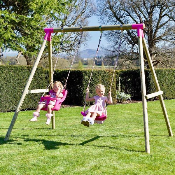 Rebo Pink Wooden Round Pole Garden Swing Set - Luna Including Swing Anchors-17606