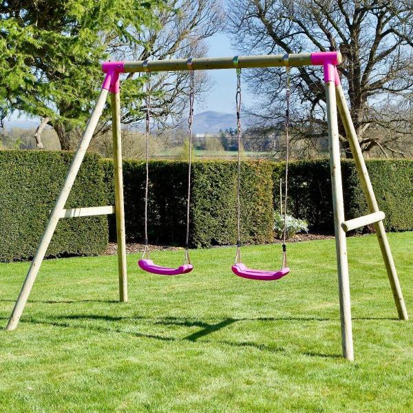 Rebo Pink Wooden Round Pole Garden Swing Set - Venus Including Swing Anchors-17576