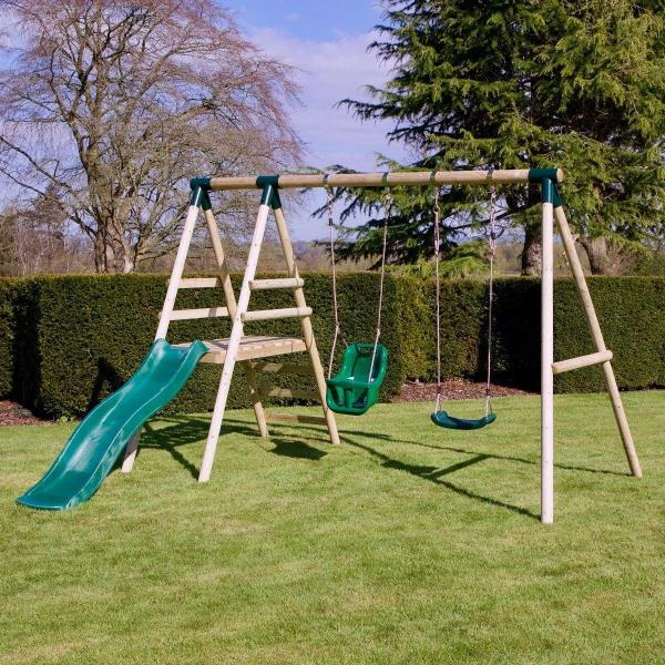Rebo Green Wooden Round Pole Garden Swing Set with Platform and Slide - Odyssey Including Swing Anchors-17470