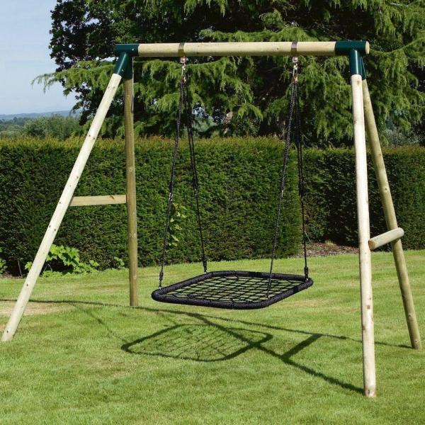 Rebo Green Wooden Round Pole Mercury Rectangular Garden Swing Set Including Swing Anchors-17668