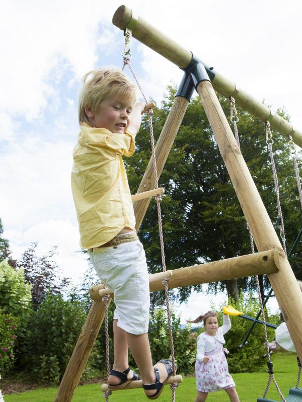 Rebo Green Wooden Round Pole Garden Swing Set - Saturn Including Swing Anchors-17753