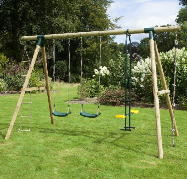 Rebo Green Wooden Round Pole Garden Swing Set - Saturn Including Swing Anchors-17750