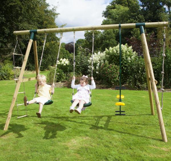 Rebo Green Wooden Round Pole Garden Swing Set - Saturn Including Swing Anchors-17745