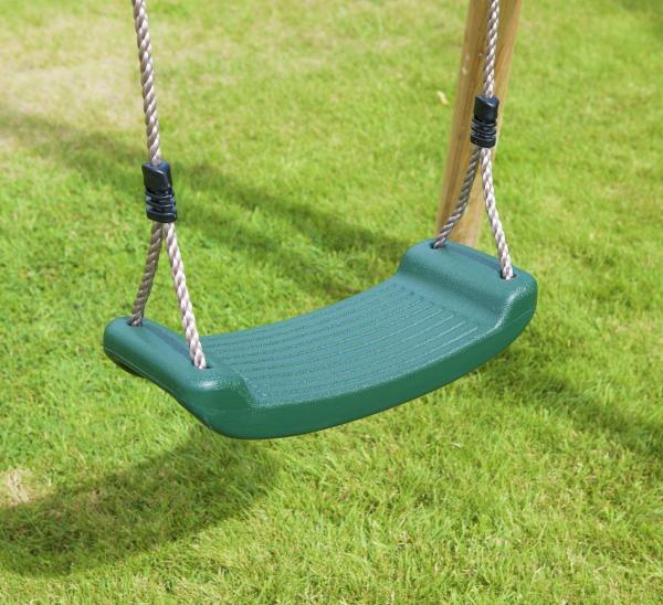 Rebo Green Wooden Round Pole Garden Swing Set - Saturn Including Swing Anchors-17752