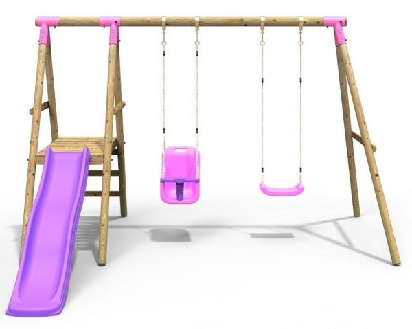 Rebo Pink Wooden Round Pole Garden Swing Set with Platform and Slide - Odyssey Including Swing Anchors -17488