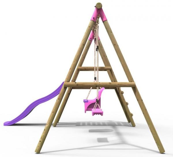 Rebo Pink Wooden Round Pole Garden Swing Set with Platform and Slide - Odyssey Including Swing Anchors -17491