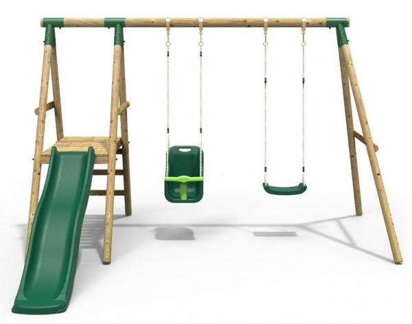 Rebo Green Wooden Round Pole Garden Swing Set with Platform and Slide - Odyssey Including Swing Anchors-17477