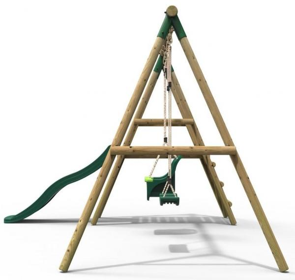 Rebo Green Wooden Round Pole Garden Swing Set with Platform and Slide - Odyssey Including Swing Anchors-17471