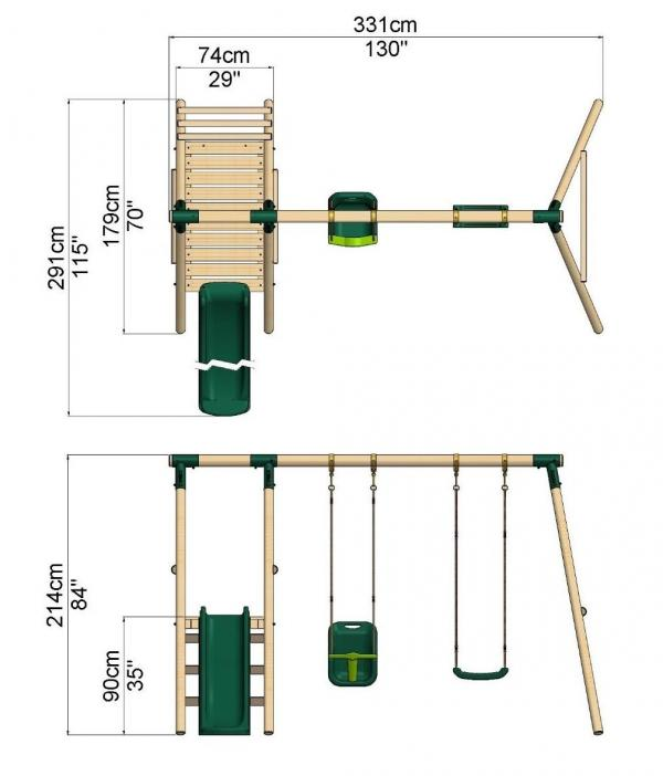 Rebo Green Wooden Round Pole Garden Swing Set with Platform and Slide - Odyssey Including Swing Anchors-17473