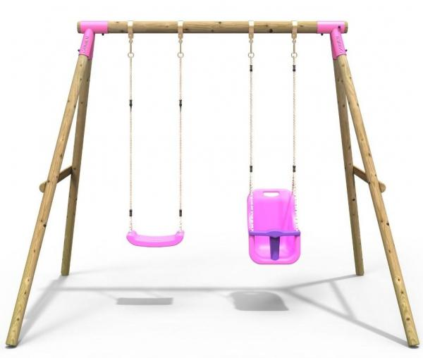 Rebo Pink Wooden Round Pole Garden Swing Set - Luna Including Swing Anchors-17616