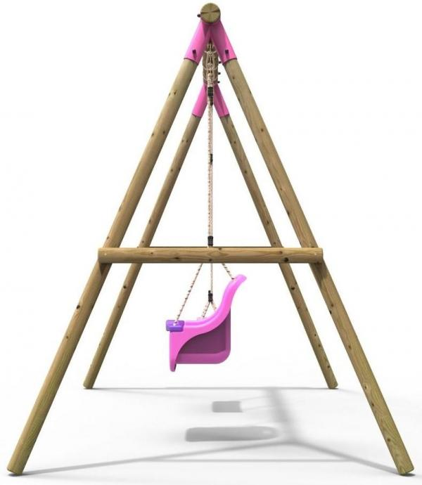 Rebo Pink Wooden Round Pole Garden Swing Set - Luna Including Swing Anchors-17613