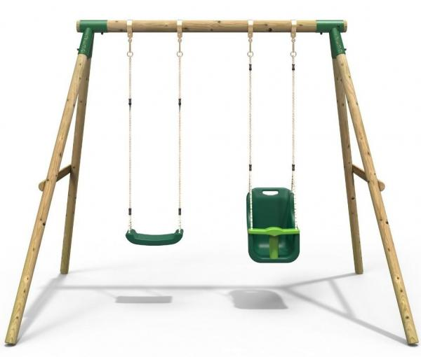 Rebo Green Wooden Round Pole Garden Swing Set - Luna Including Swing Anchors-17590