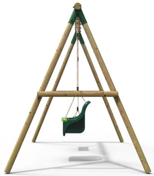 Rebo Green Wooden Round Pole Garden Swing Set - Luna Including Swing Anchors-17596