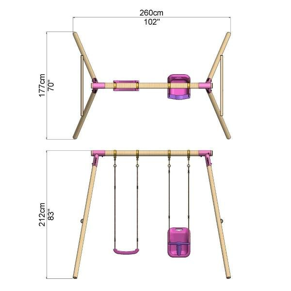 Rebo Pink Wooden Round Pole Garden Swing Set - Luna Including Swing Anchors-17615