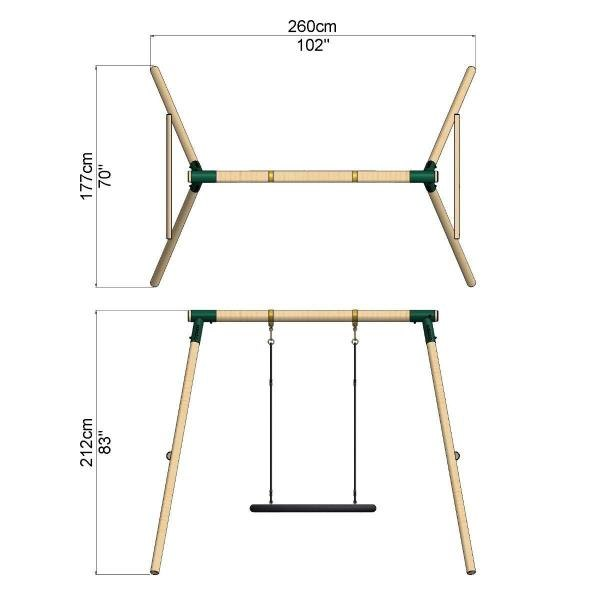 Rebo Green Wooden Round Pole Mercury Rectangular Garden Swing Set Including Swing Anchors-17667