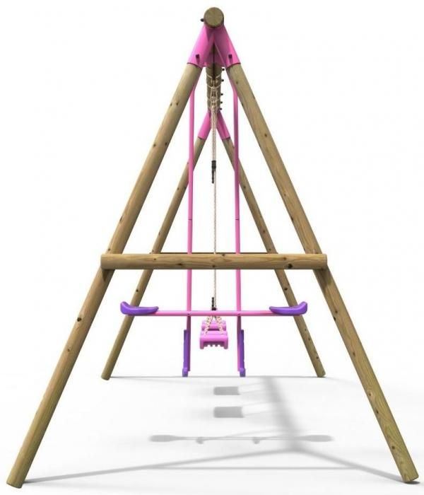 Rebo Pink Wooden Round Pole 3 in 1 Garden Swing Set - Neptune Including Swing Anchors-17727