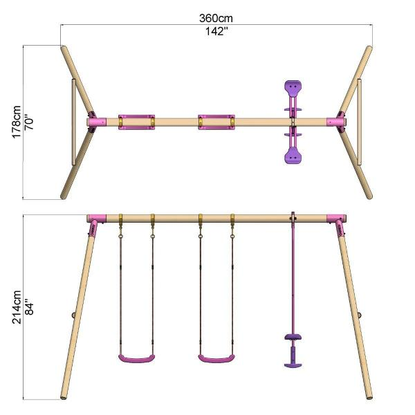 Rebo Pink Wooden Round Pole 3 in 1 Garden Swing Set - Neptune Including Swing Anchors-17728