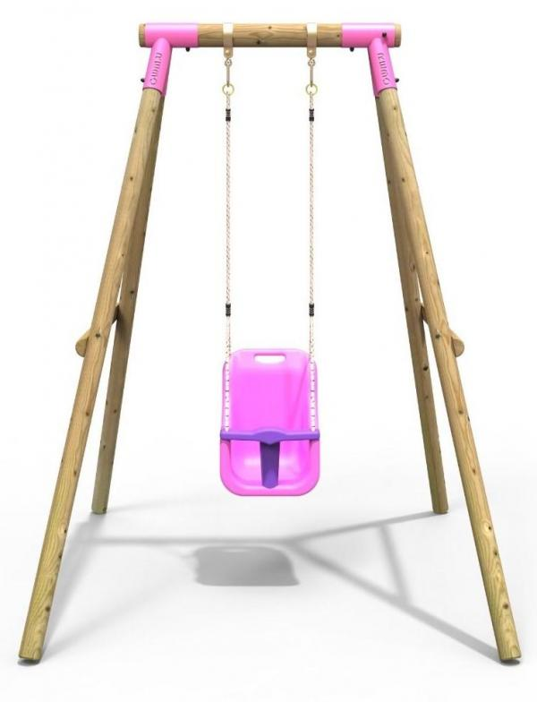 Rebo Pink Wooden Round Pole Garden Baby Swing Set - Pluto Including Swing Anchors-17527