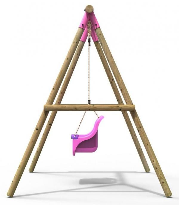 Rebo Pink Wooden Round Pole Garden Baby Swing Set - Pluto Including Swing Anchors-17530