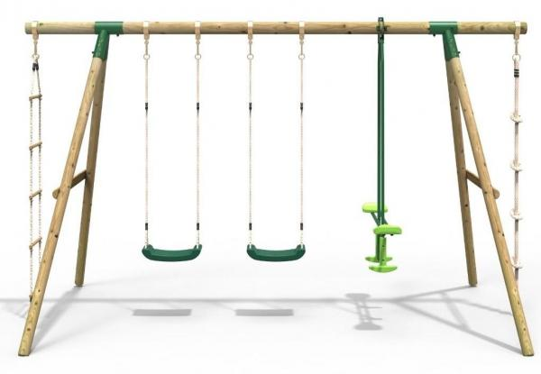 Rebo Green Wooden Round Pole Garden Swing Set - Saturn Including Swing Anchors-17746